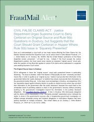 CIVIL FALSE CLAIMS ACT: Justice Department Urges ... - Fried Frank