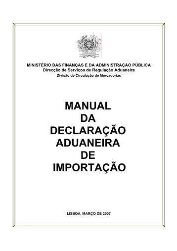 MANUAL DA DECLARAÇÃO ADUANEIRA DE IMPORTAÇÃO