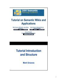Tutorial Introduction and Structure - SemTech 2011