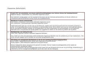 lijst Pecha Kucha - Katholieke Hogeschool Leuven