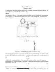 Physics 210 Laboratory Moment of Inertia A rotating table and a ...