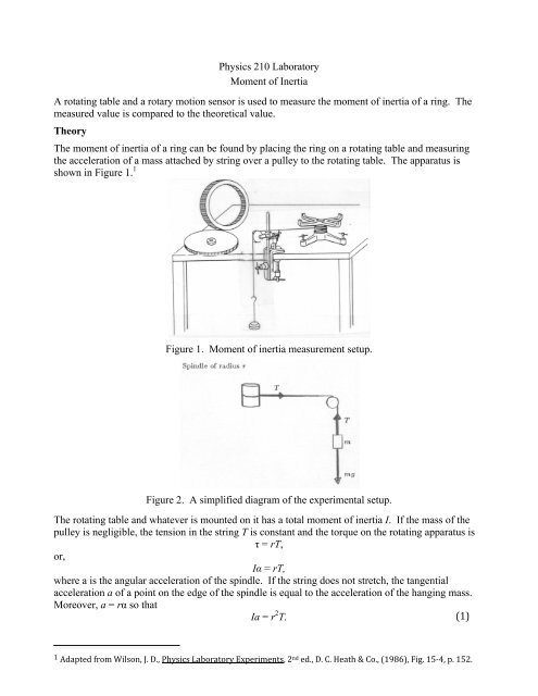 Physics 210 Laboratory Moment Of Inertia A Rotating Table