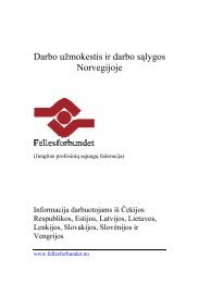 Darbo užmokestis ir darbo sąlygos Norvegijoje - Fellesforbundet