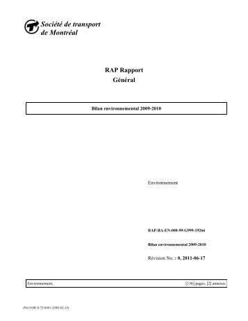 Bilan environnemental 2009-2010 - Société de transport de Montréal