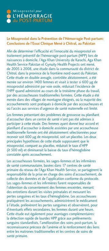 L'HÉMORRAGIE du POST-PARTUM - Family Care International