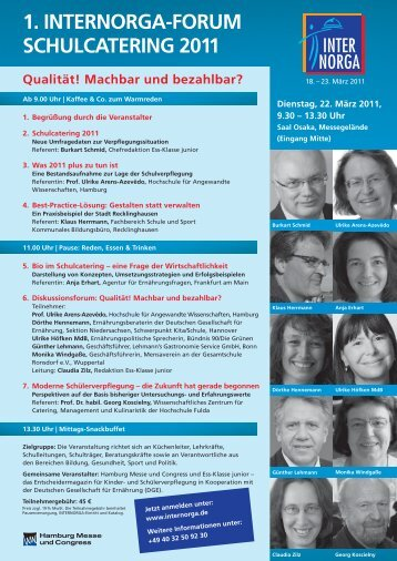 1. internorga-forum schulcatering 2011 - Schule + Essen = Note 1
