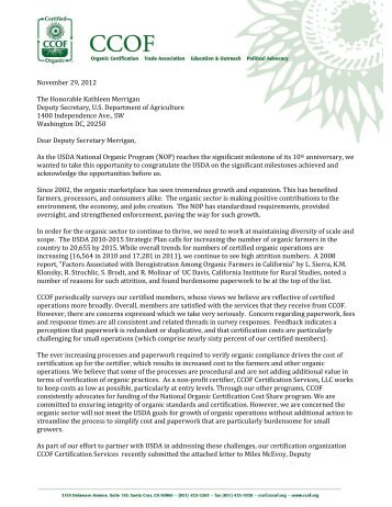CCOF wrote to the USDA