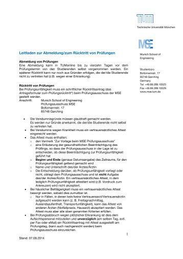 Leitfaden zur Abmeldung/zum Rücktritt von Prüfungen - MSE ...