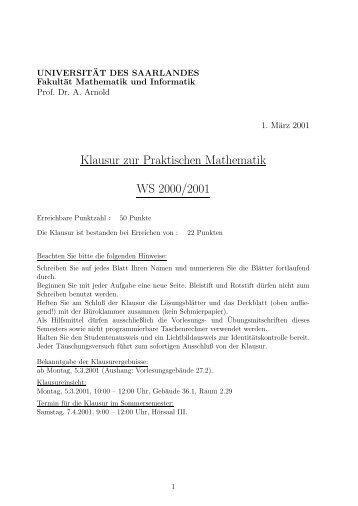 Klausur zur Praktischen Mathematik WS 2000/2001
