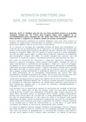 intervista direttore daa gen. isp. capo domenico esposito