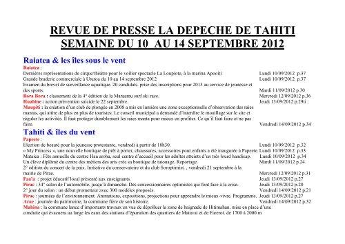 revue de presse la depeche de tahiti semaine du 10 au 14 ...