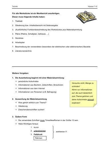Anforderungen an einen Werkbericht Klasse 7 bis 9 (pdf)