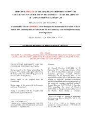 DIRECTIVE 2001/82/EC OF THE EUROPEAN ... - ECHAMP