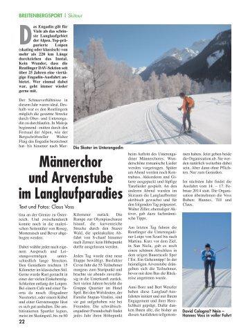 Männerchor und Arvenstube im Langlaufparadies - DAV Reutlingen
