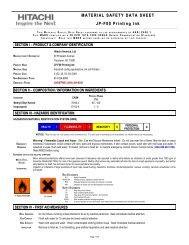 JP-F80 Printing Ink | Material Safety Data Sheet : Hitachi America, Ltd.