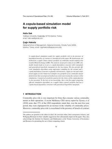 A copula-based simulation model for supply portfolio risk