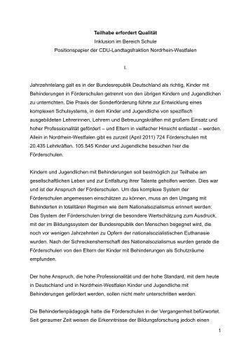 Positionspapier - Inklusion Olpe / Gemeinsam leben, gemeinsam ...
