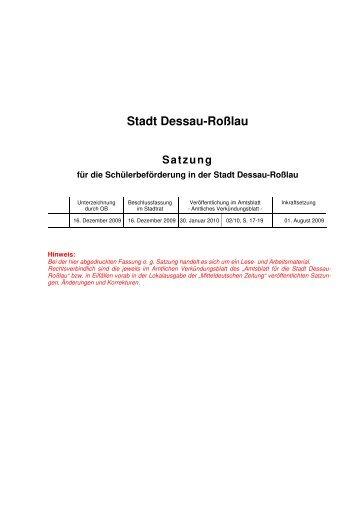 Stadt Dessau-Roßlau Satzung