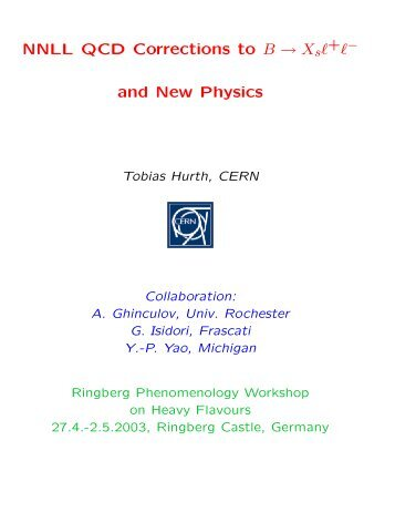 NNLL QCD Corrections to B → X and New Physics - MPP Theory ...