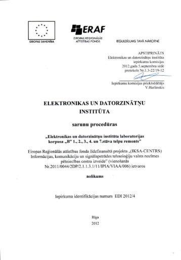 Sarunu procedūras nolikums - Elektronikas un datorzinātņu institūts
