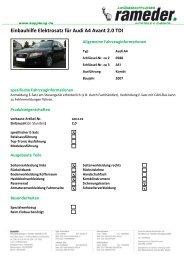 Einbauhilfe Elektrosatz für Audi A4 Avant 2.0 TDI