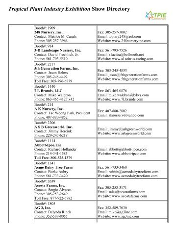 Tropical Plant Industry Exhibition Show Directory - Florida Nursery ...