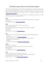 Die Registrierung der Patienten für das Schweizer Register