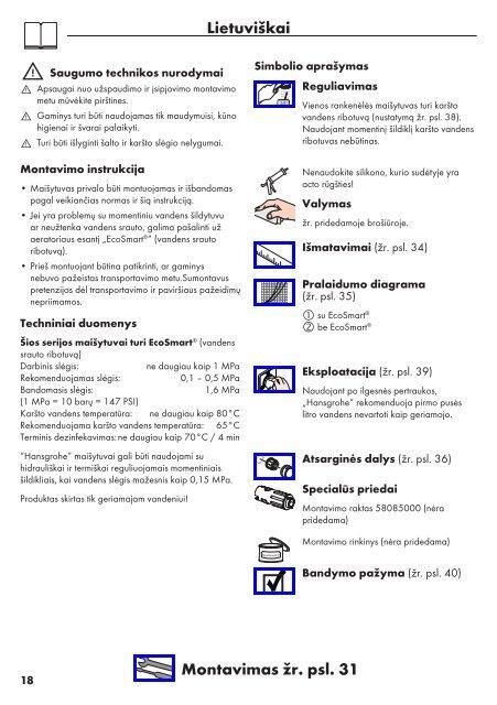 Talis 32052000 Talis 32053000 Talis Care 32036000 - Netrauta.fi