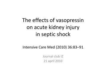 The effects of vasopressin on acute kidney injury in septic shock - ICU