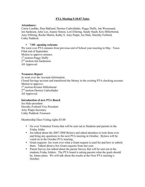 PTA Meeting 9-10-07 Notes Attendance - Linwood Elementary School