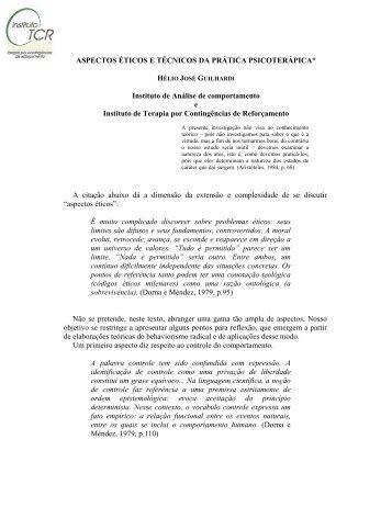 Aspectos ticos e Tcnicos da Prtica Psicoterpica - Instituto de Terapia ...