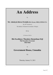 An Address - The Institute of Chartered Accountants of Nigeria