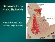 Bitterroot Lobe Idaho Batholith