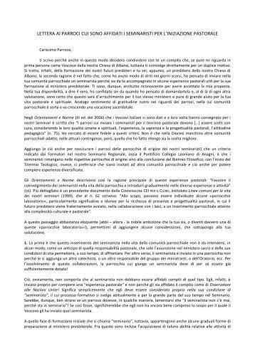 Lettera ai Parroci dei Seminaristi.pdf - Chiesa Cattolica Italiana