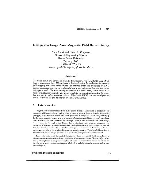 Design of a large area magnetic field sensor array - Professor Glenn ...