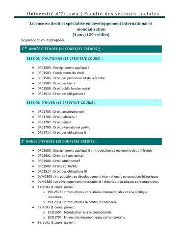 Licence en droit - Faculté des sciences sociales