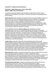 Työryhmä 11. Media ja kulttuuriteollisuus Työryhmän ... - Cupore