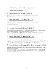 1 quinta settimana 2-5 aprile 2012, 4h 2 sesta settimana 12-13 ...