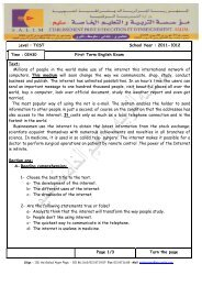 Level : TCST School Year : 2011-2012 First Term English Exam Text ...