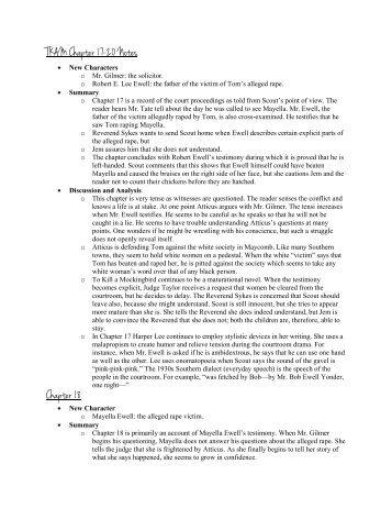 tkam chapter 17 20 summary To kill a mocking bird (chapter 17) summary the chapter begins with mr heck tate testifying for the case of tom (17), malcolm gotama (19), marcus goh (20.