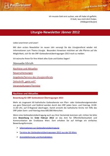 Liturgie-Newsletter Jänner 2012