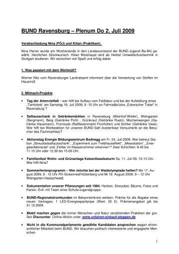 BUND Ravensburg – Plenum Do 2. Juli 2009