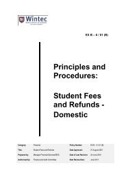 Student Fees and Refunds - Domestic - Wintec