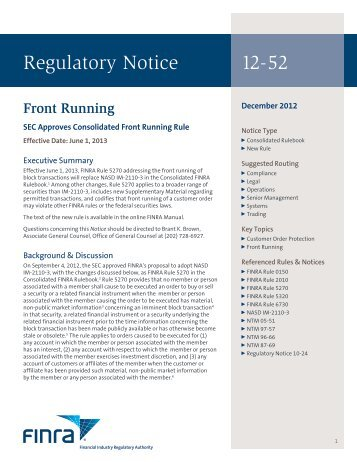 Regulatory Notice 12-52 - finra
