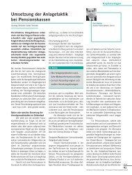 Umsetzung der Anlagetaktik bei Pensionskassen - c-alm