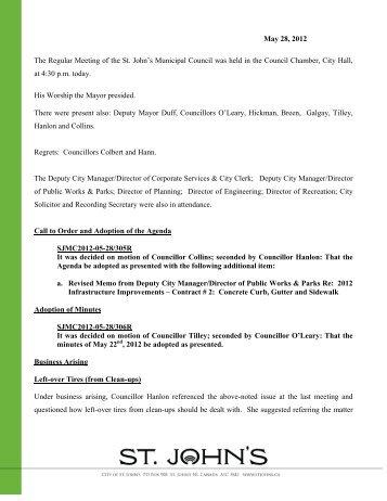 Council Minutes Monday, May 28, 2012 - City Of St. John's
