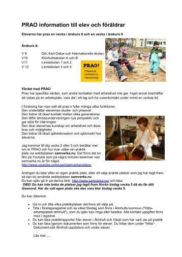 PRAO information till elev och föräldrar - Älmhults kommun