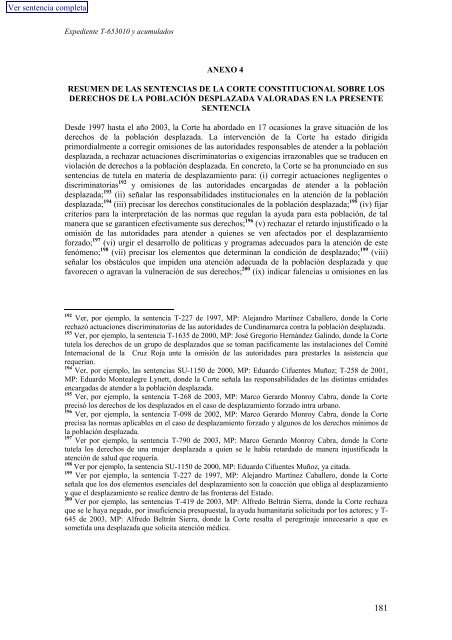 ANEXO 4 RESUMEN DE LAS SENTENCIAS DE LA CORTE ... - Acnur