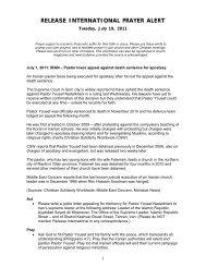 Release International Prayer Alert - 19 July 2011