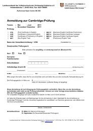 Merkblatt für die Anmeldung zur  Cambridge-Prüfung 2011